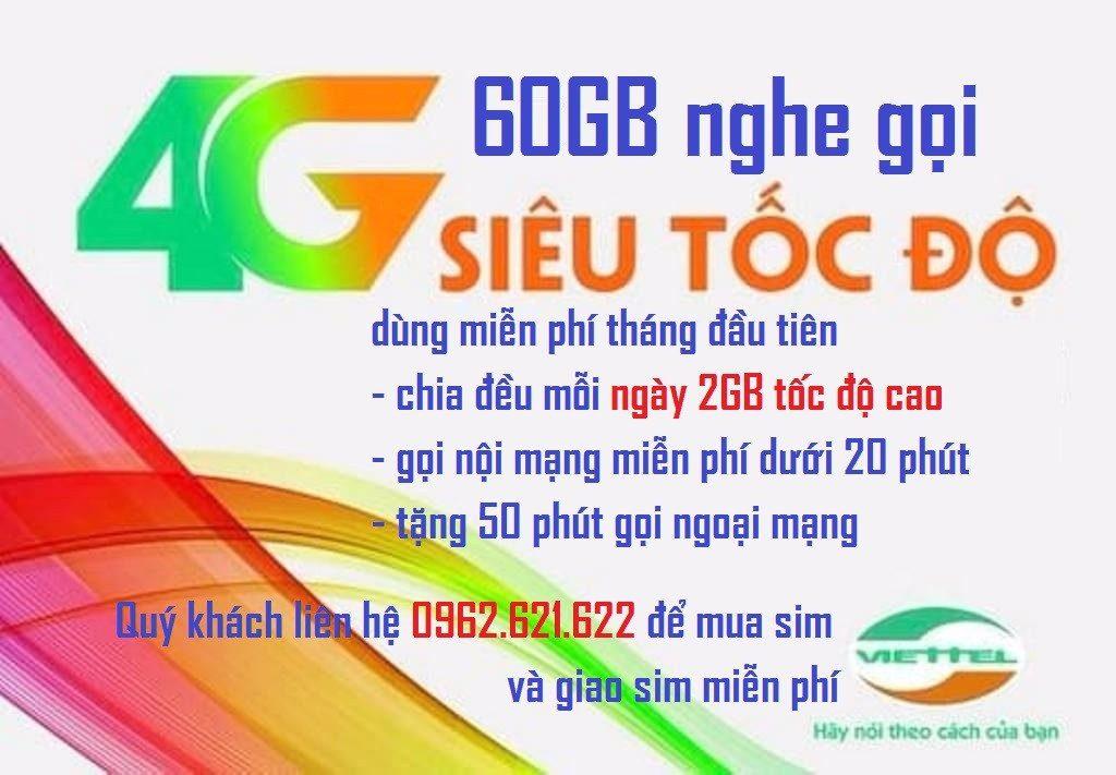 Sim 3G/4G Viettel 60Gb/tháng dung lượng data lớn, nghe gọi, nhắn tin giá rẻ